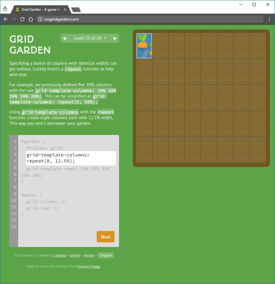 playing css grid garden with answers explained programming mentor. Black Bedroom Furniture Sets. Home Design Ideas